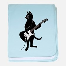 Cat Playing The Electric Guitar baby blanket