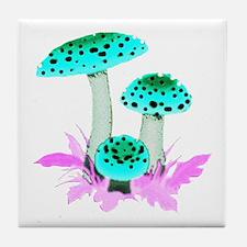 Teal Mushrooms Tile Coaster