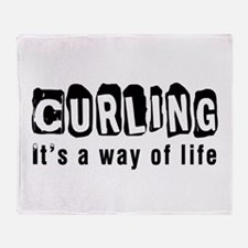 Curling it is a way of life Throw Blanket