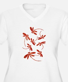 Scarlet Red Dragonflies Plus Size T-Shirt