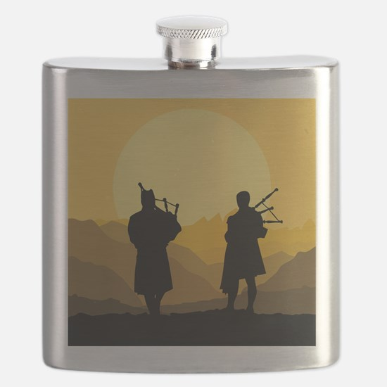Scottish Sunset with bagpipes Flask