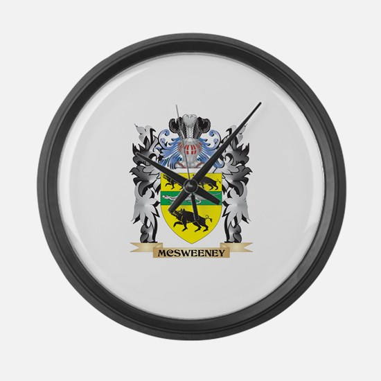 Mcsweeney Coat of Arms - Family C Large Wall Clock