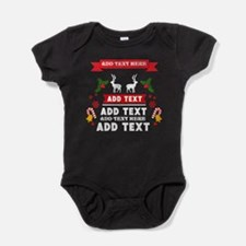 personalized add Text Christmas Baby Bodysuit