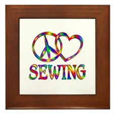 Peace Love Sewing Framed Tile