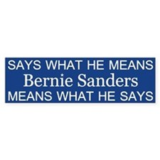 Bernie Says What He Means Bumper Bumper Bumper Sticker