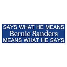 Bernie Says What He Means Bumper Bumper Sticker