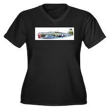 Unique Usaaf Women's Plus Size V-Neck Dark T-Shirt