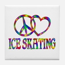 Peace Love Ice Skating Tile Coaster