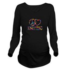 Peace Love Knitting Long Sleeve Maternity T-Shirt