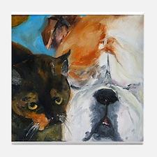 Baby the Bulldog and Delilah Tile Coaster