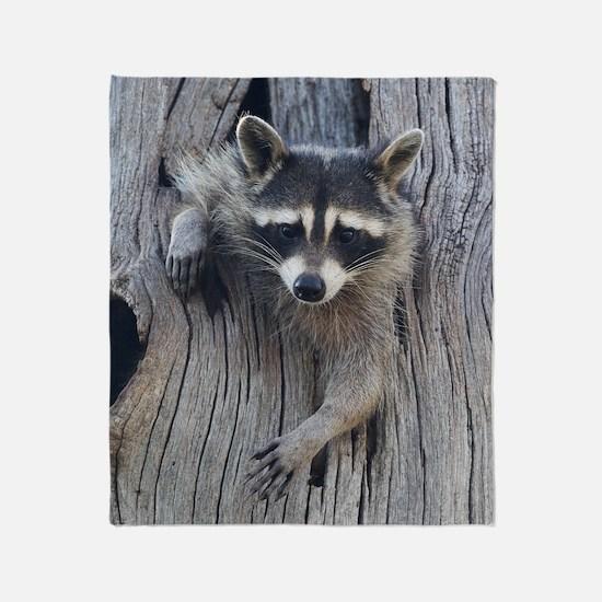 Raccoon in a Tree Throw Blanket