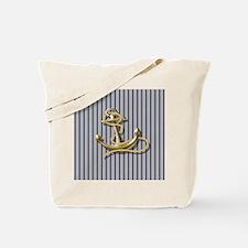 blue pin stripes beach anchor Tote Bag