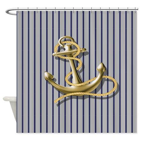 blue pin stripes beach anchor shower curtain