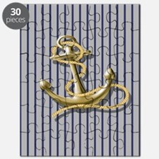 blue pin stripes beach anchor Puzzle