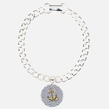 gold anchor blue geometr Bracelet