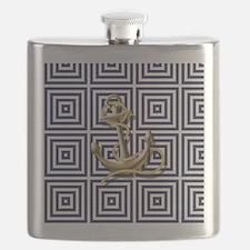 gold anchor blue geometric pattern Flask