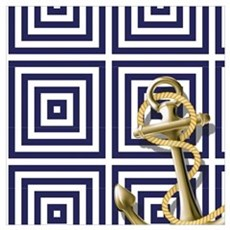 gold anchor blue geometric pattern Poster