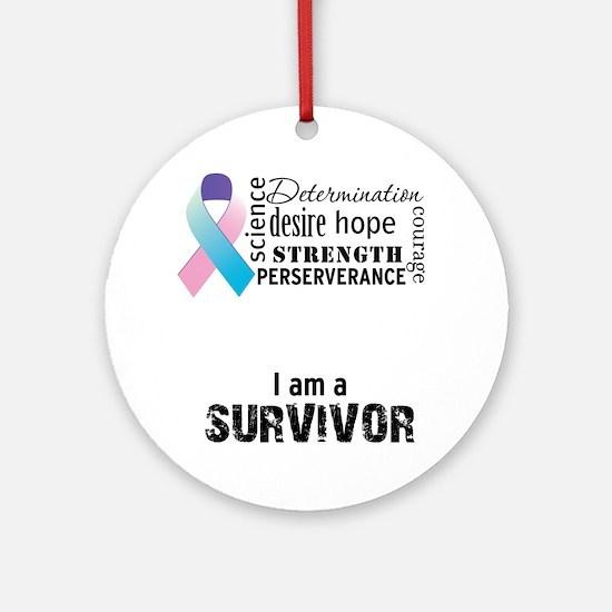 thyroid cancer survivor word cluste Round Ornament