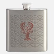 gray damask red lobster Flask