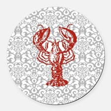 gray damask red lobster Round Car Magnet