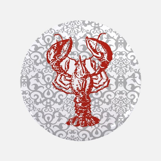 gray damask red lobster Button