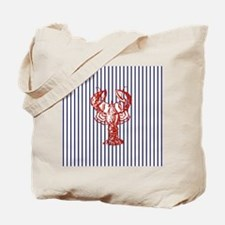 blue nautical stripes vintage lobster Tote Bag