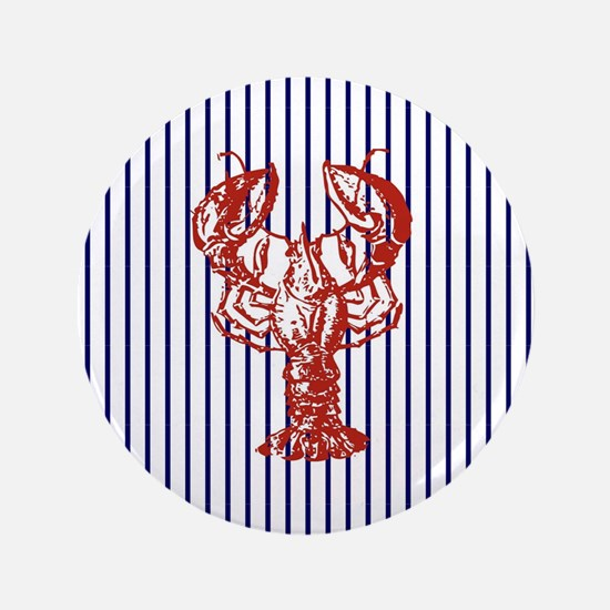 blue nautical stripes vintage lobster Button