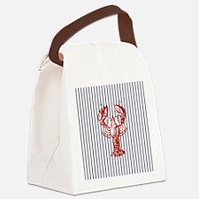 blue nautical stripes vintage lob Canvas Lunch Bag