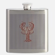 blue nautical stripes vintage lobster Flask