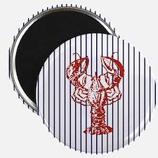 blue nautical stripes vintage lobster Magnet