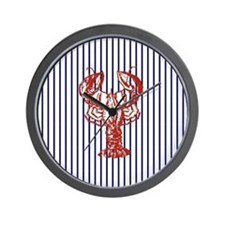 blue nautical stripes vintage lobster Wall Clock