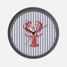blue nautical stripes vintage lobster Wall Clock