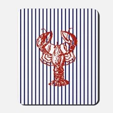 blue nautical stripes vintage lobster Mousepad