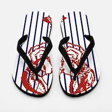 blue nautical stripes vintage lobster Flip Flops