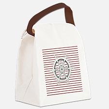 red stripes ship wheel nautical Canvas Lunch Bag