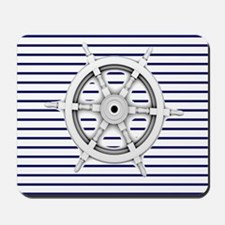 ship wheel blue nautical stripes Mousepad