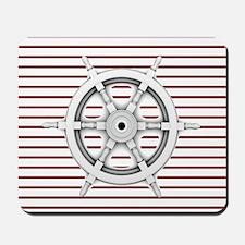 red stripes ship wheel nautical Mousepad