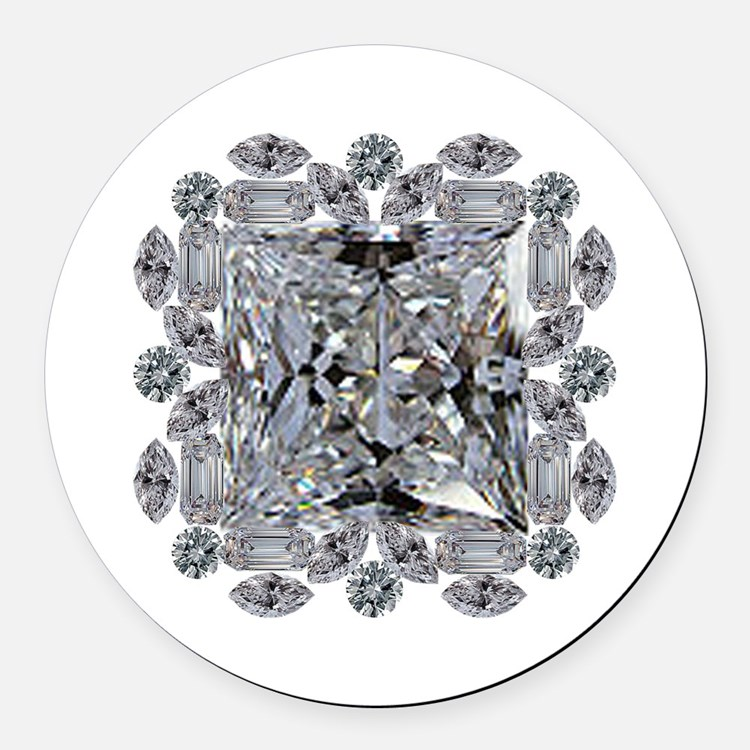 Diamond Gift Brooch Round Car Magnet