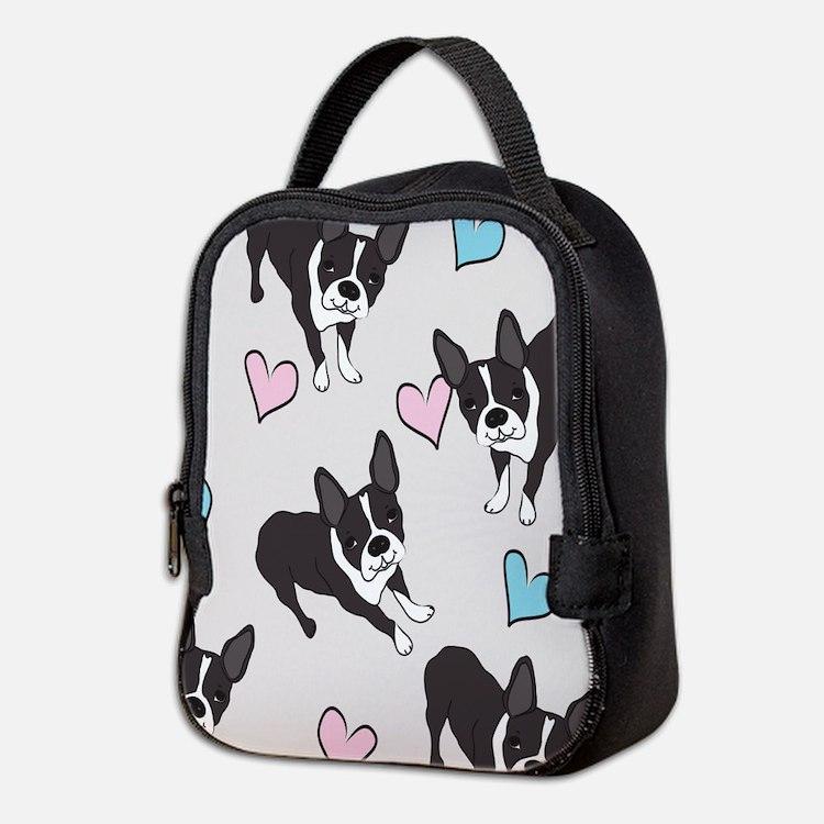 Boston Terriers Pattern Neoprene Lunch Bag