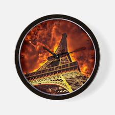 Eiffel Tower in fire Wall Clock