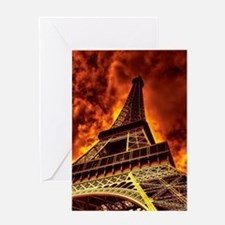 Eiffel Tower in fire Greeting Cards