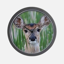 Deer in the Cattails Wall Clock