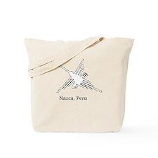 White Nazca Lines Hummingbird Tote Bag