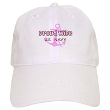 Navy - Proud Wife Pink and Br Baseball Cap