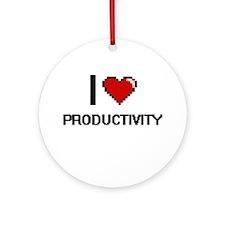I Love Productivity Digital Design Round Ornament