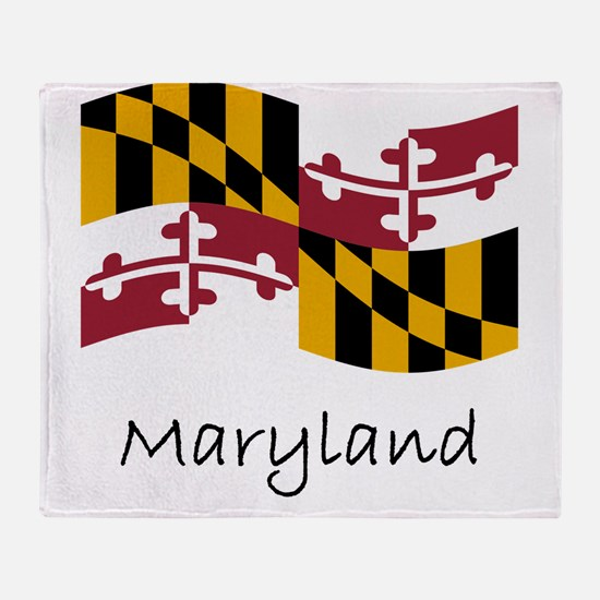Waving Maryland Flag Throw Blanket