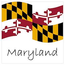 Waving Maryland Flag Poster