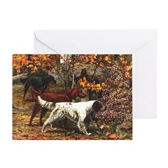 The Three Setters Single Greeting Card