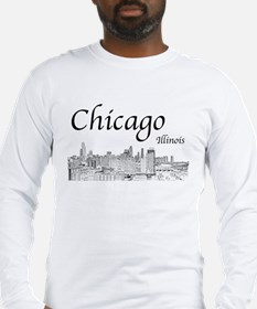 Chicago on White Long Sleeve T-Shirt