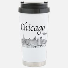 Chicago on White Travel Mug